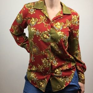 vintage button-up scarf print long sleeve blouse